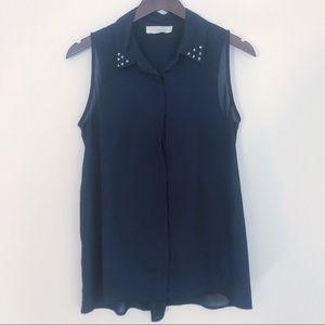 🍁 Olive & Oak Navy Studded Collar Sleeveless Top